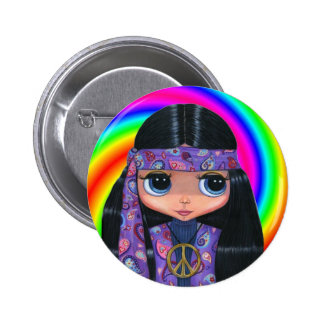 Paisley Hippie Doll Swirl Button