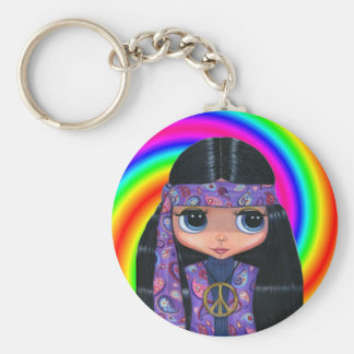 Paisley Hippie Doll Swirl Keychain