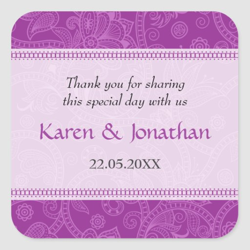 Paisley Impression in Violet Wedding Sticker