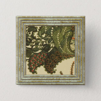 Paisley In Green And Beige 15 Cm Square Badge