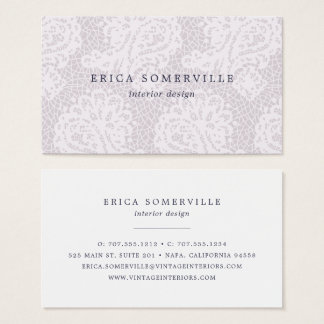 Paisley Lace Business Cards | Gray Lilac