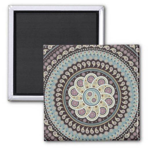 Paisley Mandala Refrigerator Magnets