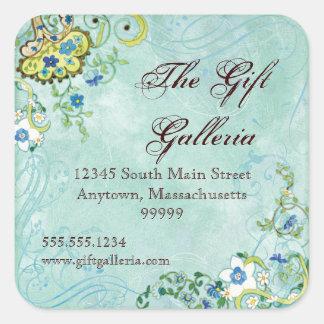 Paisley Modern Floral Flourish Swirl Wedding Square Sticker