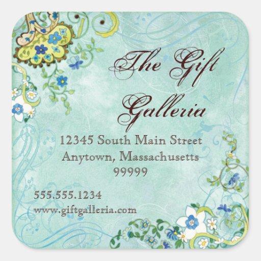 Paisley Modern Floral Flourish Swirl Wedding Square Stickers