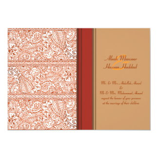 Paisley Passion - Orange (Henna) (Wedding) Card
