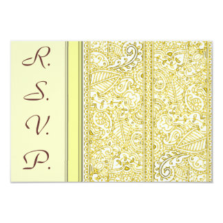 Paisley Passion - Yellow (Henna) (Wedding) Card