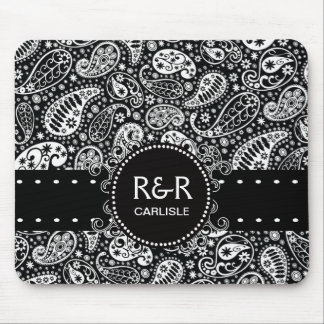 Paisley Pattern Black and White  Personalized Mouse Pad