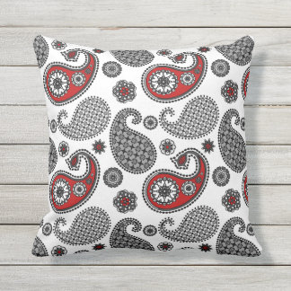Paisley pattern, Black, White and Red Cushion