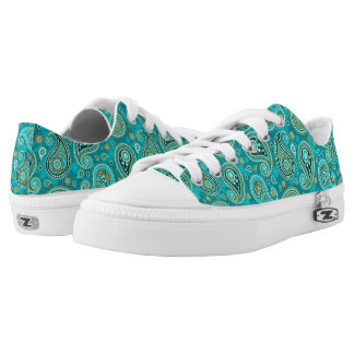 Paisley pattern Blue and orange Low Tops