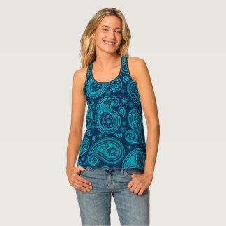 Paisley pattern blue elegant singlet