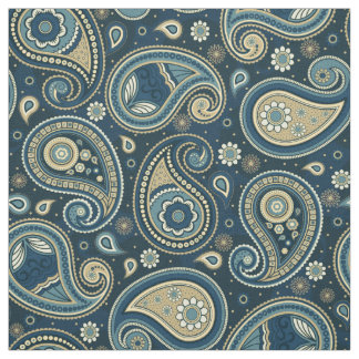 Paisley pattern blue teal color fabric