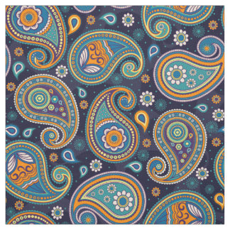 Paisley pattern blue teal orange color fabric