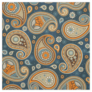 Paisley pattern blue teal orangecolor fabric
