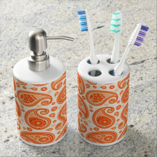 Paisley pattern bright orange elegant soap dispenser and toothbrush holder
