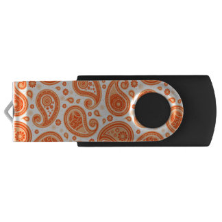 Paisley pattern bright orange elegant USB flash drive