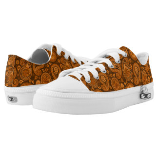 Paisley pattern brown low tops