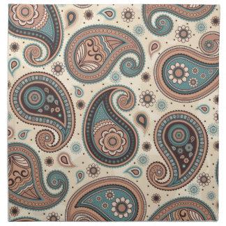 Paisley pattern brown teal beige elegant napkin