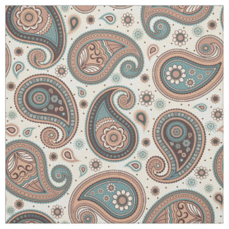 Paisley pattern brown teal color fabric