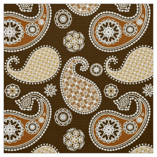 Paisley pattern, Chocolate Brown and Tan Fabric