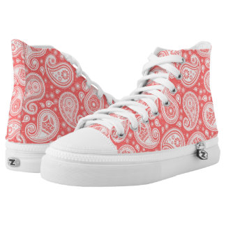 Paisley pattern coral pink and white high tops