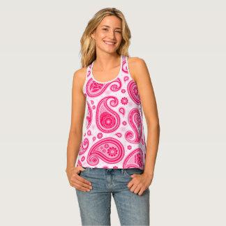 Paisley pattern cute girly pink elegant singlet