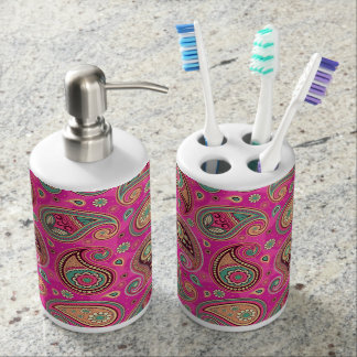 Paisley pattern cute girly pink elegant soap dispenser and toothbrush holder
