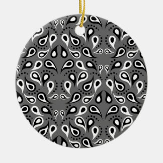 Paisley Pattern Design Print Black Ceramic Ornament