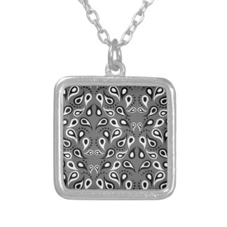 Paisley Pattern Design Print Black Silver Plated Necklace