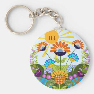 Paisley pattern, Fantasy Flowers & custom Monogram Basic Round Button Key Ring