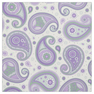 Paisley pattern green and purple color fabric