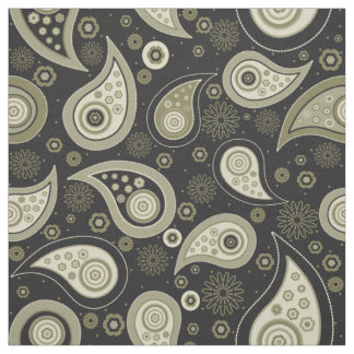 Paisley pattern green black elegant fabric