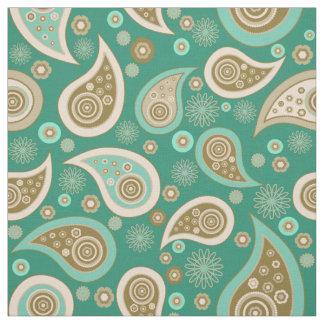 Paisley pattern green brown elegant fabric