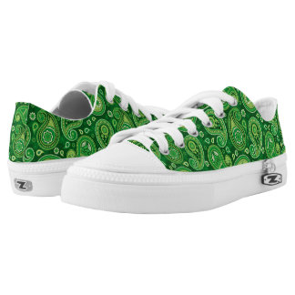 Paisley pattern green low tops