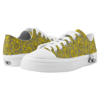 Paisley pattern grey and yellow low tops