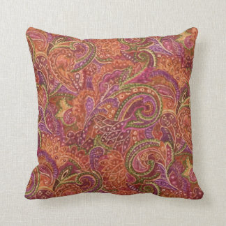 Paisley Pattern in Red and Purple Cushion