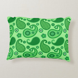 Paisley Pattern, Jade and Emerald Green Decorative Cushion