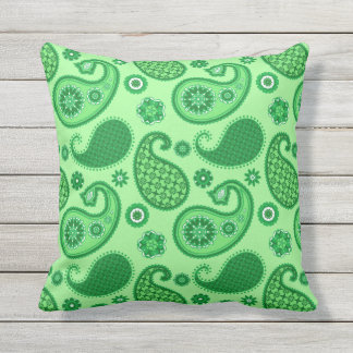 Paisley Pattern, Jade and Emerald Green Outdoor Cushion