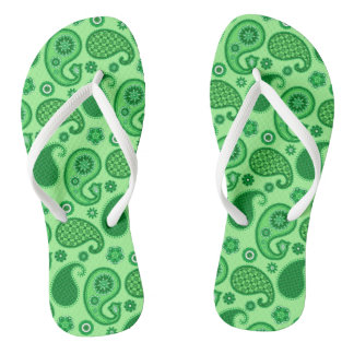 Paisley Pattern, Jade and Emerald Green Thongs