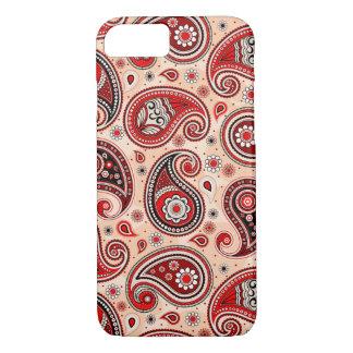 Paisley pattern maroon red beige elegant iPhone 8/7 case