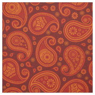 Paisley pattern maroon red orange fabric