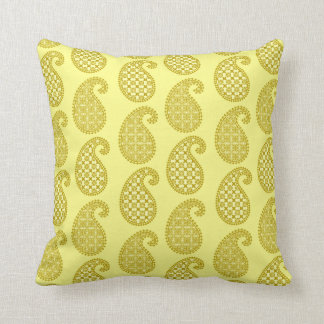 Paisley pattern, mustard and pale yellow throw pillow