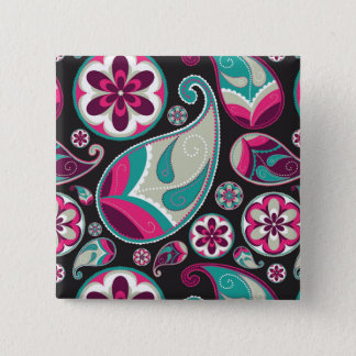 Paisley Pattern Pink and Teal 15 Cm Square Badge