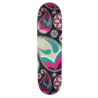 Paisley Pattern Pink and Teal 21.6 Cm Skateboard Deck