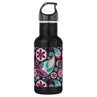 Paisley Pattern Pink and Teal 532 Ml Water Bottle