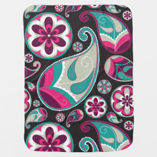 Paisley Pattern Pink and Teal Baby Blanket