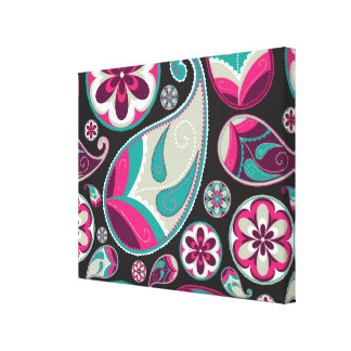 Paisley Pattern Pink and Teal Canvas Print