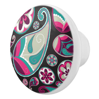 Paisley Pattern Pink and Teal Ceramic Knob