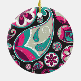 Paisley Pattern Pink and Teal Ceramic Ornament