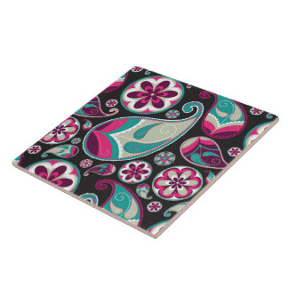 Paisley Pattern Pink and Teal Ceramic Tile