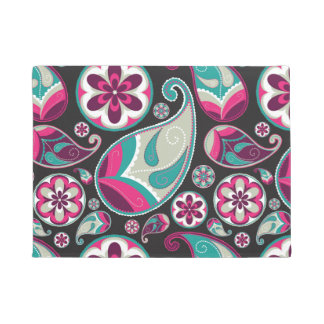 Paisley Pattern Pink and Teal Doormat
